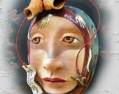 Be Careful What You Wish For - Mask Sculpture, Ceramic Wall Art