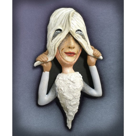 The Fledgling - Ceramic pendant, figurative sculpture