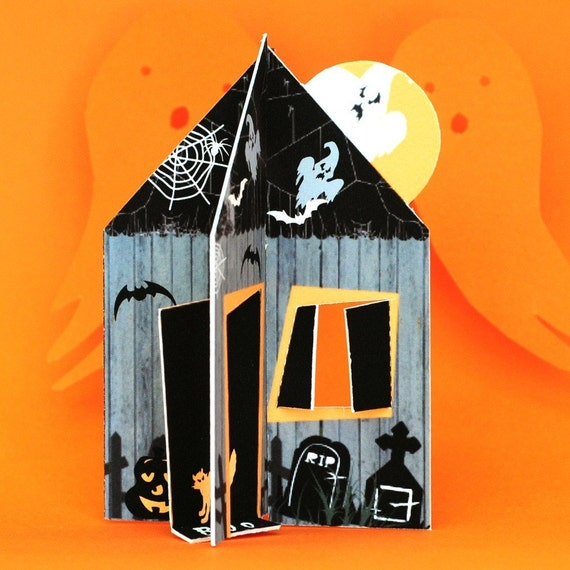 Haunted House Printable 3D House Card Envelope Gift Tags