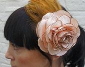 Recycled vintage flower fascinator/headpiece, pink satin flower brown vintage feathers wedding bride bridesmaid mother of the bride