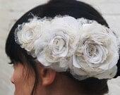 Ivory recycled wedding triple rose flower headpiece/fascinator in satin, silk, antique wedding veiling for a bride CUSTOM ORDER