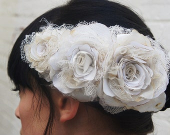 Ivory recycled wedding triple rose flower headpiece/fascinator in satin, silk, antique wedding veiling for a bride CUSTOM ORDER