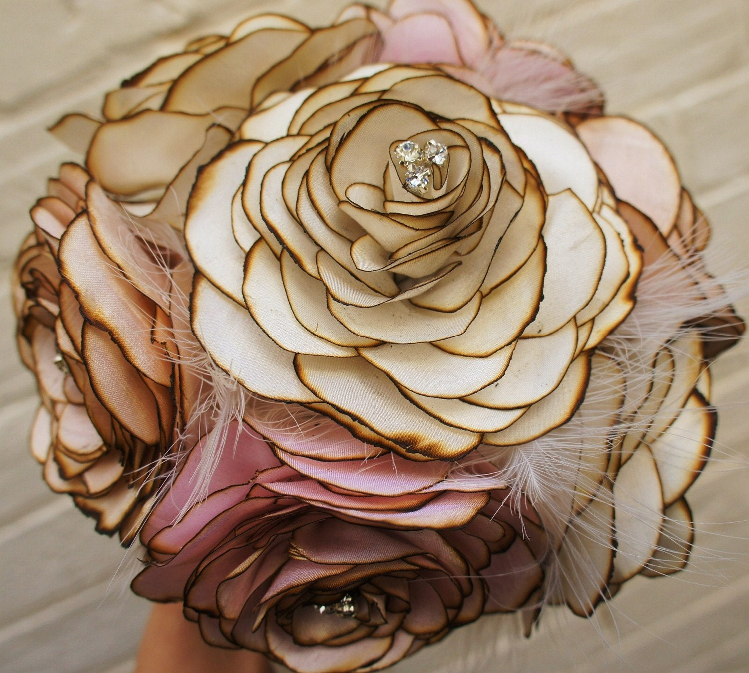 Making Fabric Flowers Wedding: Hand Made Vintage Fabric Wedding Bride's Bouquet Silk By