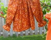 Autumn Spice Orange and Brown Peasant Long Sleeve Blouse Size 2-6