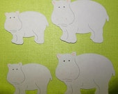Hippo, Hippopotamus, Gray, Large Animal, African, Safari, Swimmers, Paper Piecings, Scrapbooking, Card Toppers, Party Decor, Adventure, Tags