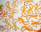 Chameleon, Lizard, Gecko, Salamander, Orange, Colorful, Reversible, Paper Piecings, Scrapbooking, Card Toppers, Party Decor, Classroom Decor