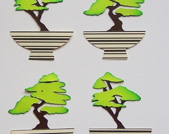 Die Cut, Bonsai Tree, Plant, Paper Embellishment, Card Making, Japanese, Scrapbooking, Card Toppers, Tin Toppers, Green, Paper Piecing, Tag