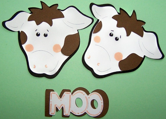 Cow, Spotted, Dairy Cow, Brown Spots, Black Spots, Farm Animal, Steer, Bovine, Calf, Paper Piecings, Scrapbooking, Cards DIY, Gift Tags, Tag