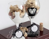 Set of 2 personalized Bride and Groom dress and tux hand painted wine glasses . Dishwasher safe