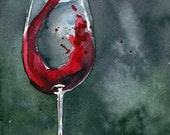 Print - Watercolor Painting - Red Red Wine - 8x10