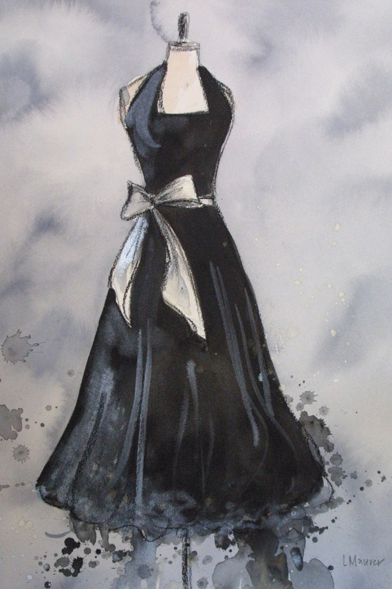CLEARANCE Vintage Dress Painting - Original -Watercolor, Acrylic and Charcoal Painting - Vintage Black Halter Dress with Silver Bow - 16x20