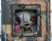 It's Beautiful Out There Gothic Art Doll in frame