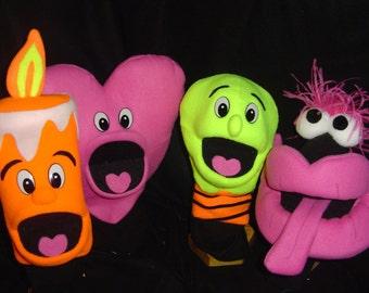 1 new BLACKLIGHT PUPPET-muppet professional-u choose-lips, heart, candle, lightbulb