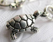 "Turtle charm necklace ""Slow and Steady"" antiqued silver pewter, turtle necklace, desert pond sea creature animal, persevere, water"
