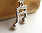 Somewhere There's Music necklace, silver pewter musical note charm, music teacher necklace, musician