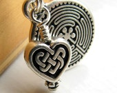 Celtic Heart charm necklace - Labyrinth charm with Celtic accents - silver pewter - inner journey, travel guide - valentine's day