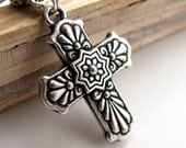 Mexican Talavera Cross, silver cross necklace, antiqued pendant, catholic jewelry, religious, christian symbol, hispanic cross jewelry