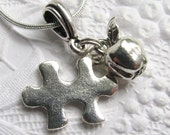Autism Teacher charm necklace, silver pewter, autism necklace, Special Education Teacher Gift, puzzle piece, apple, autism awareness jewelry