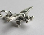 Retro propeller airplane necklace, Piper aircraft travel, flying pilot 50s aviation jewelry, silver pewter prop plane charm, journey, travel