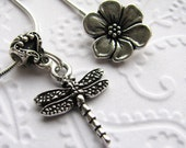Dragonfly charm necklace with flower clasp, TierraCast silver pewter, dragonfly necklace, pond life, garden wings insect bug