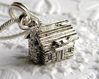Log cabin necklace, antiqued silver pewter charm, wooden house, Western frontier home, American Pioneers, Republican, Abraham Lincoln