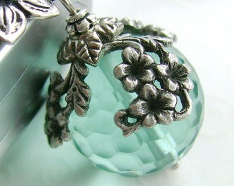 The World in Bloom - ceiling fan pull, home decor, aqua blue ball charm, antiqued silver floral draping, verdigris lighting, light, lamp