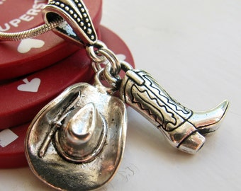 Cowboy Hat and Cowboy Boot necklace, TierraCast antiqued silver pewter charms, rodeo jewelry, Wild West, cowgirl, horseback riding, stampede
