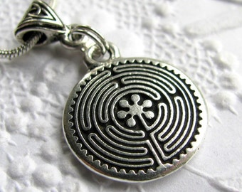 Labyrinth necklace with Celtic accents, TierraCast antiqued silver pewter charm, safe travel necklace, safe journey talisman