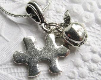 Autism Teacher charm necklace, silver pewter, autism necklace, Special Education Teacher Gift, puzzle piece, apple, autism awareness jewelry