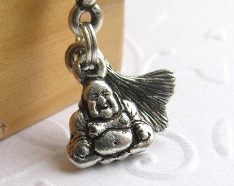 Buddha charm necklace with lotus leaf charm, silver pewter, Zen meditation charm, spiritual charm, yoga charm necklace, ginkgo leaf