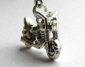 Vintage 50's Chopper, retro motorcycle necklace, silver pewter charm, travel necklace, adventure necklace, journey, motorbike motor bike