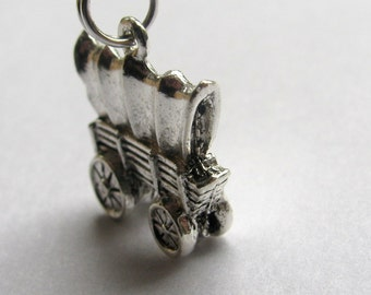 "Covered wagon charm necklace ""Westward Ho"" silver pewter Conestoga, pioneer journey, travel, prairie schooner, moving, house warming"
