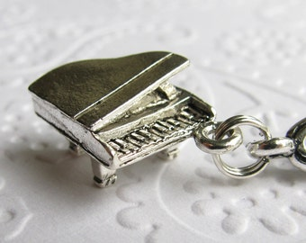 Piano charm necklace, antiqued silver pewter, pianist, music teacher necklace, miniature grand piano, musician, singer, song
