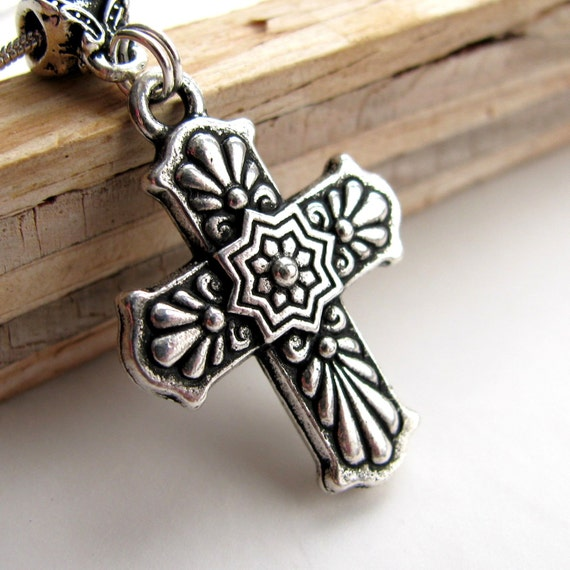 Mexican Talavera Cross, silver cross necklace, antiqued pendant, catholic jewelry, religious, christian symbol, hispanic cross jewelry