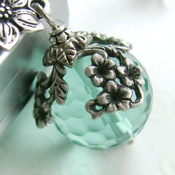 The World in Bloom charm necklace,  Aqua Ball and Flowers, silver and light blue glass, floral draping sphere ball