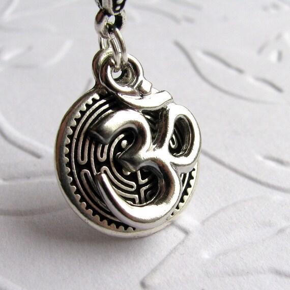 "Sanskrit Ohm Labyrinth necklace ""Tranquil Journey"" meditation necklace, om yoga necklace, silver pewter charm, guidance, travel necklace"