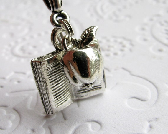 Teacher charm necklace, silver pewter apple, book, reading, literacy tutor, literature, librarian, back to school