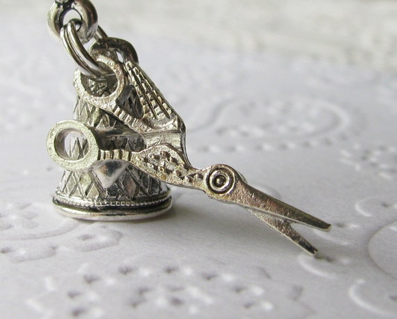 Vintage stork sewing scissors and thimble, sewing necklace, antiqued silver pewter charms, crafting, seamstress, sew, fertility, motherhood