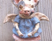 When Pigs Fly Paper Mache Pig Angel Doll Clay Folk Art Pig Primitive Nostalgic Vintage