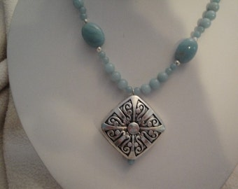 Amazonite with Scroll Pendant Necklace