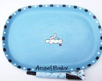 Ceramic Signature Plate to Welcome New BABY BOY - Baby Shower Guest Book Alternative