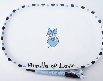 Ceramic Signature Plate to Welcome New BABY BOY