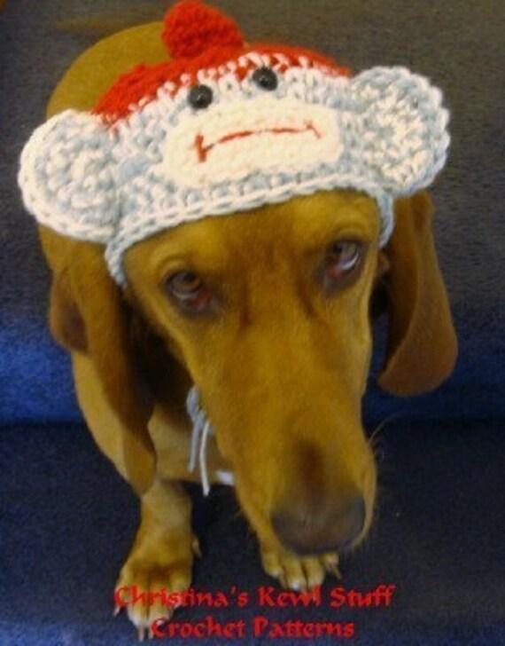 Crochet Hat Pattern For A Dog : Monkey Sock Hat for Dogs Crochet Pattern Sized for Medium to