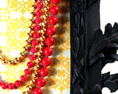 """Vintage 4 strand """"Georgiou"""" signed red and gold necklace"""