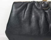 On Sale Now --- Vintage black soft faux leather party purse