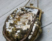 Gold Flapper Sequined Beaded Red Carpet Bag SALE
