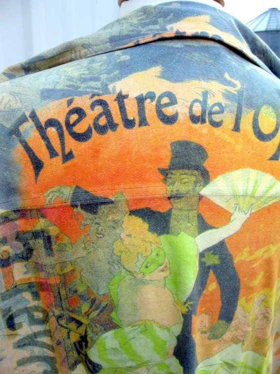French Opera Poster Shirt in PolySuede Size Large by Mechant SALE