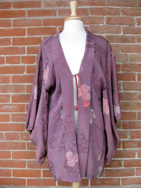Kimono in Gray and Red with Yellow Orange and Cream Lining SALE