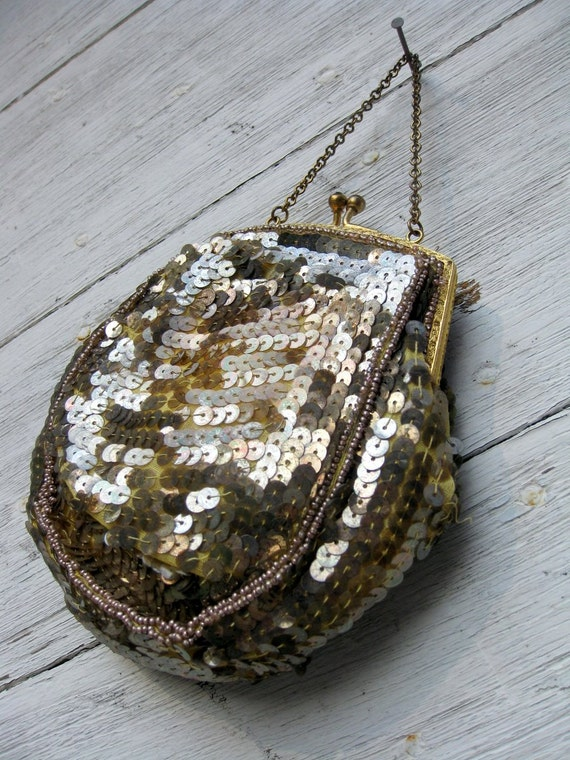 Gold Flapper Sequined Beaded Red Carpet Bag SALE