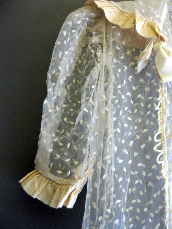 Ivory Sheer Lace Edwardian Wedding Dress with Grosgrain Ribbon Ruffle Trim